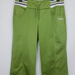 Adidas Green Stretch Wide Leg Capri Track Pants